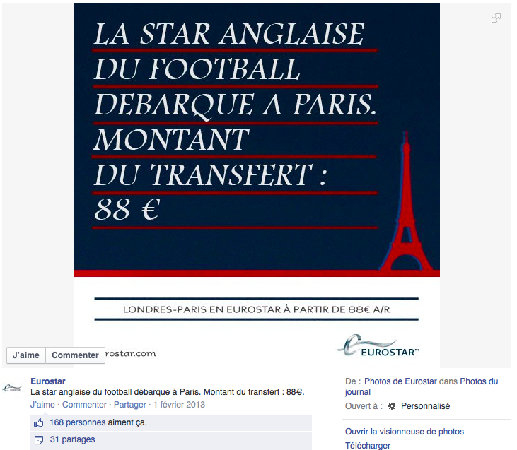 12 Eurostar Beckham Le Top Topical ou le real time advertising