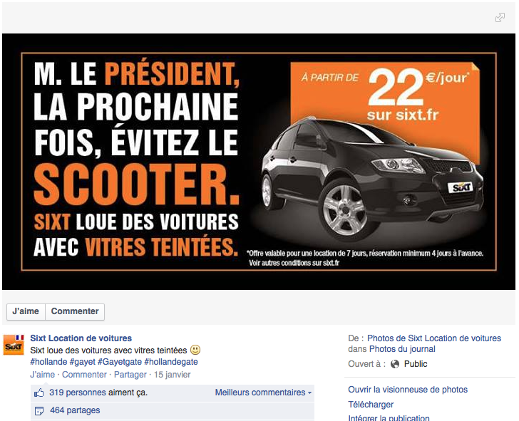 14 Sixt Hollande Le Top Topical ou le real time advertising