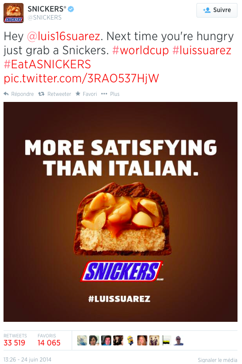 7 Snickers Suarez Le Top Topical ou le real time advertising